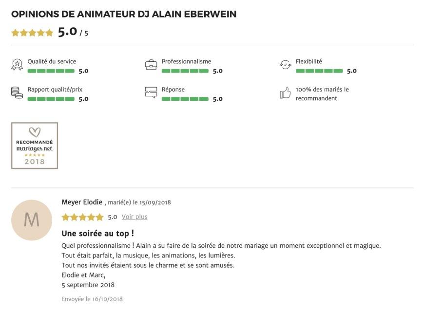 recommandation mariage.net dj Alain Eberwein
