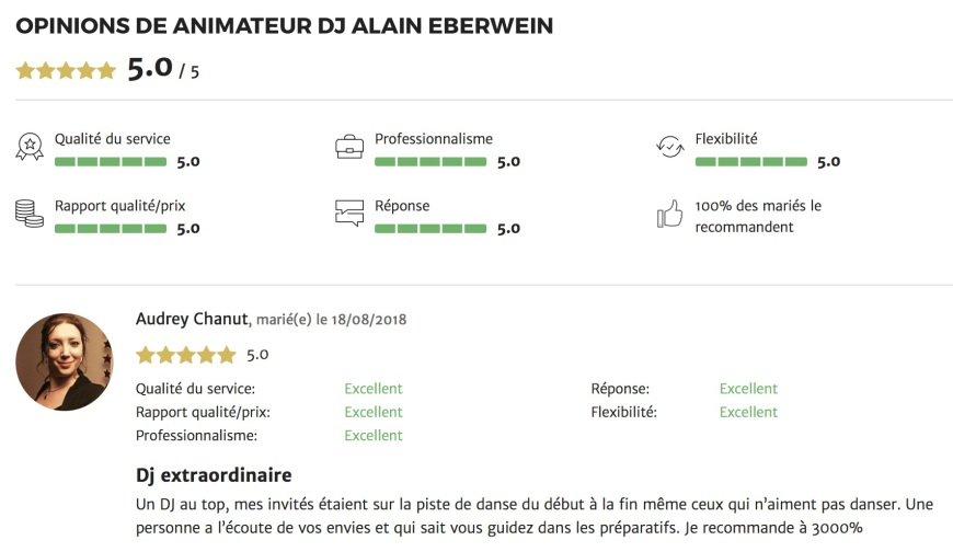 avis mariage.net Alsace animation dj Alain Eberwein