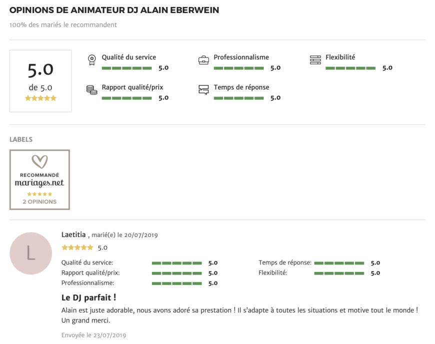 opinions dj Alain Eberwein animateur mariage.net)