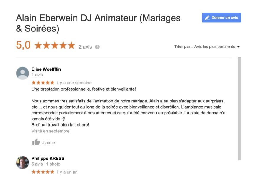 avis google pour animation dj de mariage à Colmar en Alsace