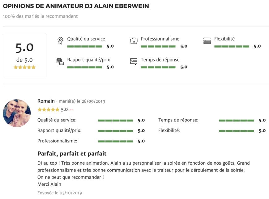 recommandation alain Eberwein pour mariage.net en Alsace
